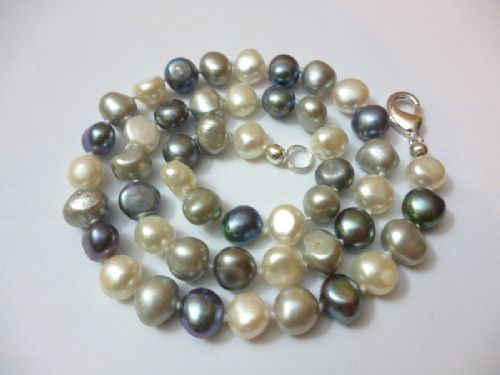 Black, White and Grey (Tuxedo) Baroque Pearls.